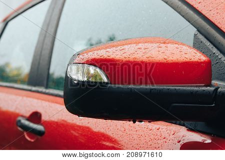 Red Car Side Mirror Integrated With Signal Lamp