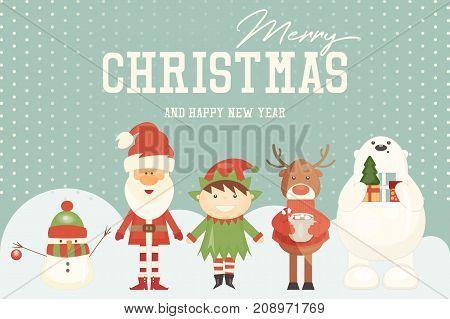 Merry Christmas Greeting Card - Santa Claus and Xmas Characters. Vector Illustration.