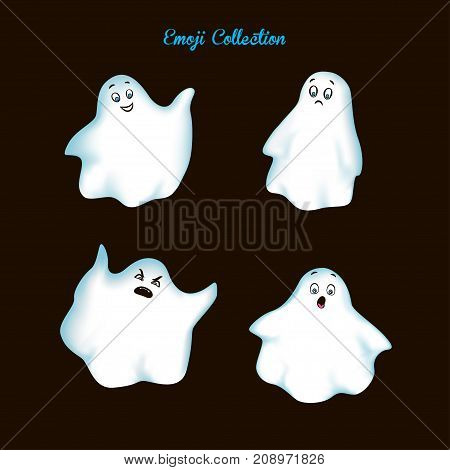 Set of emoji cartoon character. White ghost with sadness, surprise, anger and joy on dark background. Vector illustration.