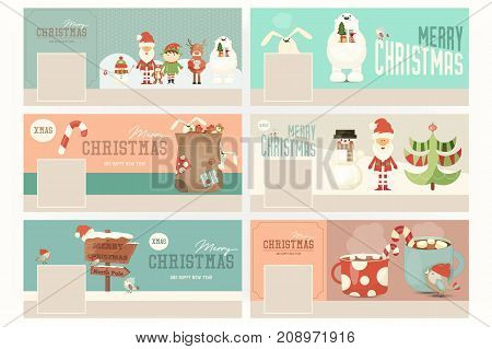 Merry Christmas Banners Set with Santa Claus and Cute Xmas Characters. Vector Illustration. Template banner for social network.