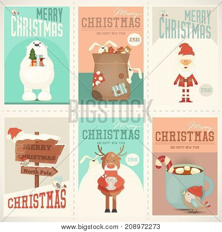 Merry Christmas Posters Set - Santa Claus and Other Xmas Characters in Cute Set. Vector Illustration.