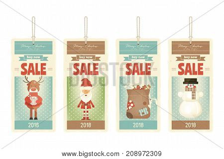 Christmas Sale Tags in with Santa Claus and Xmas Characters. Vector Illustration.