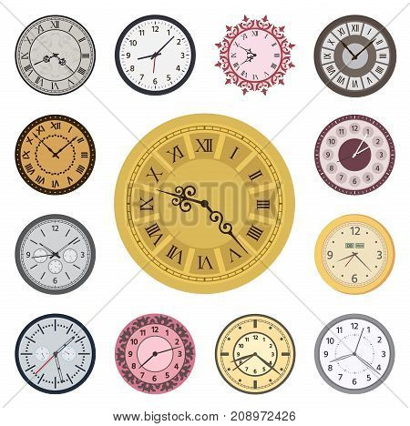Colorful clock faces vintage and time modern clockwise parts index dial watch arrows numbers dial face vector illustration. Measurement pointer circle clockwork.