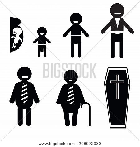 icons of human life isolated on white background