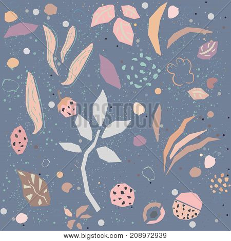 Cute seamless pattern with hand drawn plants. Dark Violet Background. Vector Illustration