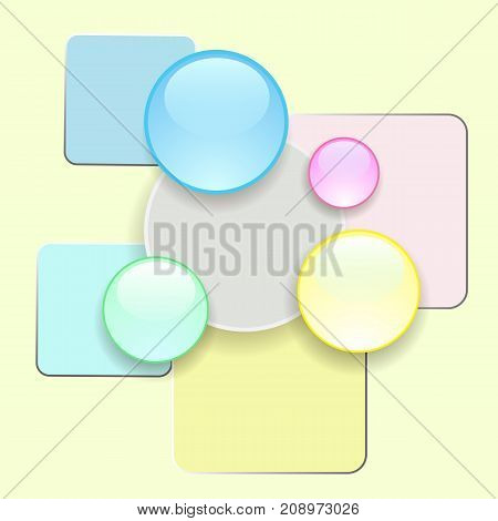 abstract colored glass icons on yellow background