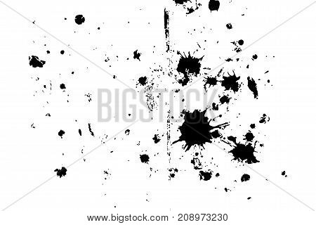 Distressed halftone grunge black and white vector texture - dirty splashes of paint and plaster on the old floor background. Vector illustration for abstract vintage effect with noise and grain
