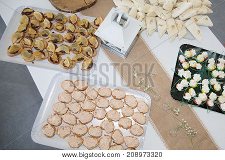Food Cocktail Party On Tray With Plate For Service Event Or Hotel Restaurant