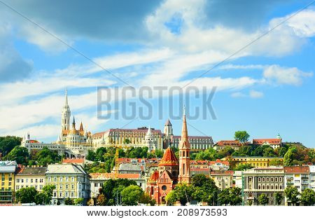 Church of St. Matthias Fisherman's BastionCalvinist Church shore view's of the Danube .Budapest.Hungary