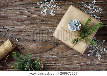 Christmas Gift Box. Christmas Presents In Handmade Boxes On A Wooden Table. Flat Lay With Copy Space