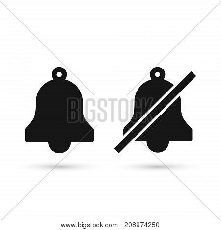 Bell flat icon set no bell icon. Vector isolated illustration.