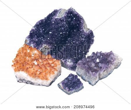 Collection of amethyst and citrine druse geodes isolated on white background