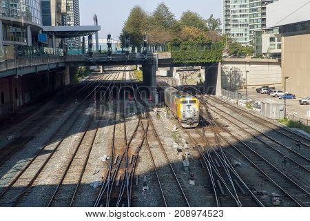 The main commuter train tracks in Toronto Canada