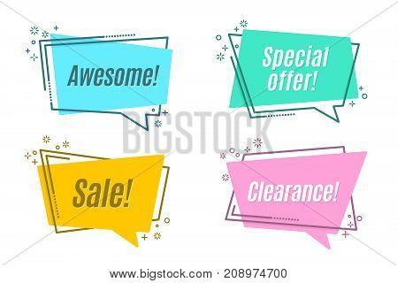 Flat linear promotion sticker scroll price tag sticker badge Vector illustration set