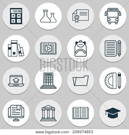 Education Icons Set. Collection Of Home Work, Academy, Opened Book And Other Elements