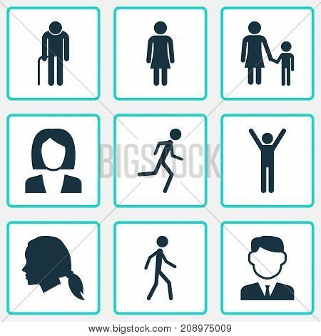 Person Icons Set. Collection Of Work Man, Jogging, Grandpa Elements