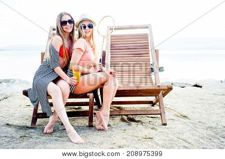 Group of girls are having a party on a beach