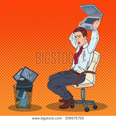 Pop Art Angry Businessman Throws Out Laptop. Stress at Office Work. Vector illustration