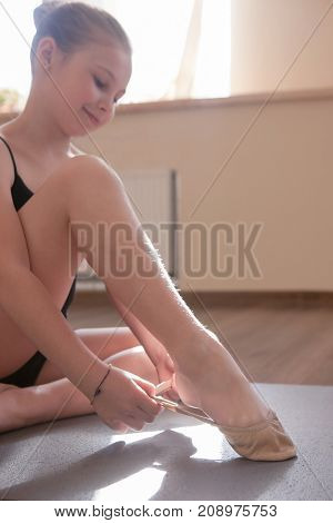 Young ballerinas lesson. Delicate sport kind. Teenage girl in dance class, sensibility from childhood. Gym background, healthy teen lifestyle, ballet concept