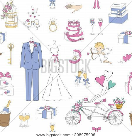 Vector wedding seamless background with hand drawn wedding icons, bride dress, groom suit, tandem bicycle, cake, birdcage, champagne and other decorations.