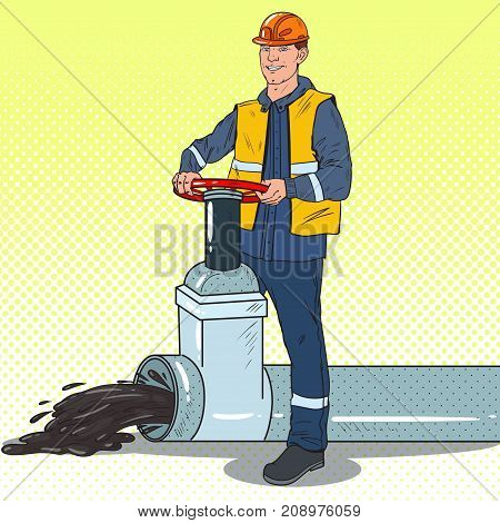 Pop Art Oilman Works with Oil Pipe. Petrochemical Industry. Vector illustration