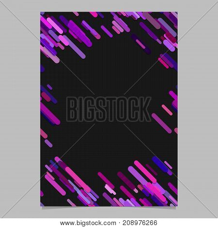Purple random diagonal rounded stripe pattern brochure template - trendy blank vector stationery background design