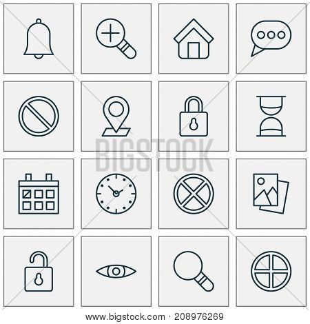 Web Icons Set. Collection Of Increase Loup, Unlock, Safeguard And Other Elements