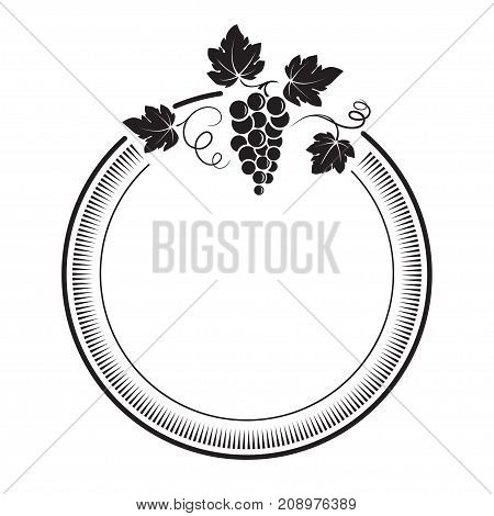 Bunch of grapes with vines and leaves. Round label.