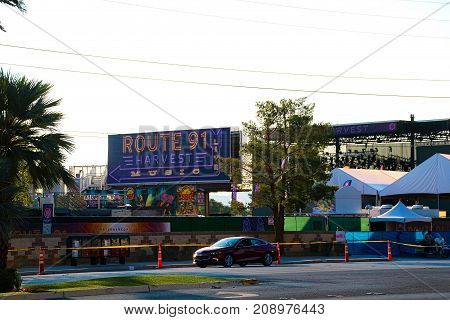 LAS VEGAS - OCT 07 ,2017 : The Route 91 HARVEST Live venue after the shoot incident on the Las Vegas Strip