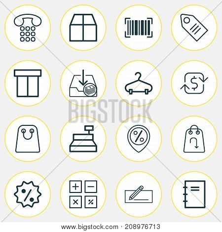 E-Commerce Icons Set. Collection Of Calculation Tool, Ticket, Spiral Notebook And Other Elements