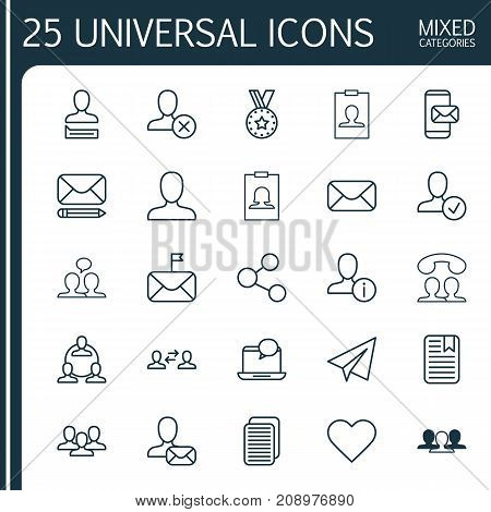 Communication Icons Set. Collection Of Publication, Ban, Internet Site And Other Elements
