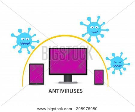 Illustration Desktop, tablet and mobile phone protected by antivirus. Vector viruses and mobile device.