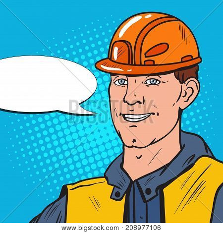 Pop Art Smiling Industrial Worker. Man in Uniform and Helmet. Vector illustration