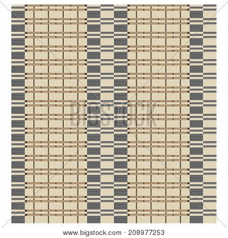 Seamless texture of bamboo curtain or thatched table mat. Weaving effect. Swatch is included in vector file.
