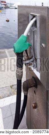 detail of petrol pump in the town of la spezia