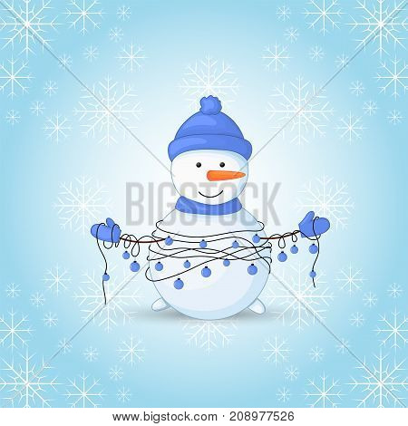 Snowman in scarf, boots, mittens, and a hat and with garlands in their hands. postcard for the new year and Christmas. Isolated objects on white background