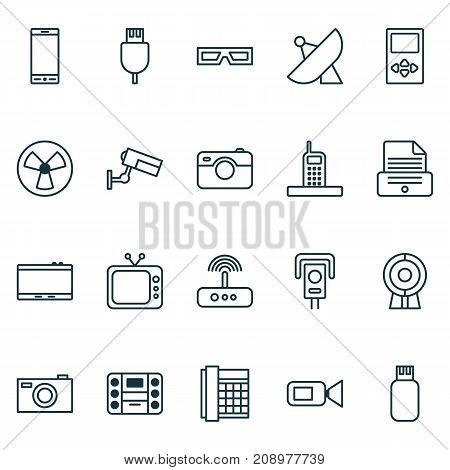 Hardware Icons Set. Collection Of Camcorder, Ventilator, Antenna And Other Elements