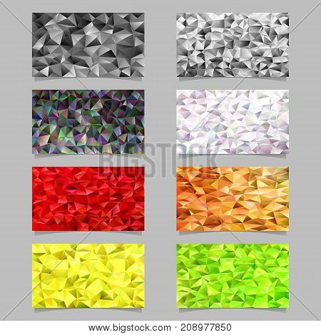 Abstract geometrical tiled triangle pattern mosaic card background set - gradient mosaic vector graphic elements from color triangles