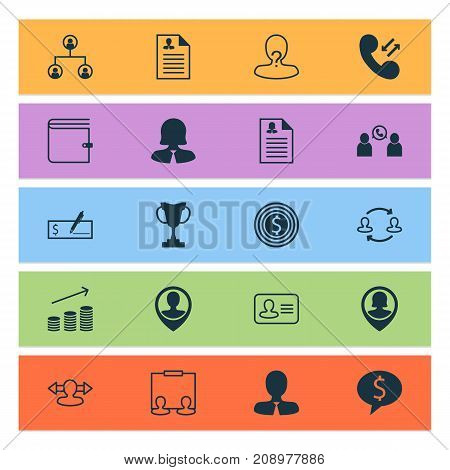 Resources Icons Set. Collection Of Curriculum Vitae, Goal, Deal And Other Elements