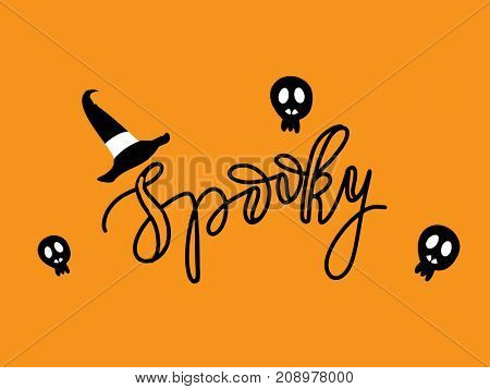 Cute Spiders and Web on orange background with text Spooky. Happy Halloween illustration