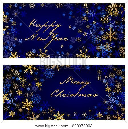 Set of  christmas and New Year horizontal banners 2018. Silver and golden snowflakes on dark blue background