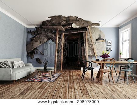 the entrance to the mine destroyed interior. 3d rendering illustration concept