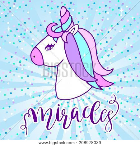 Cute unicorn head and lettering text Magical. cartoon character illustration. Design for child t-shirt, card, sticker, web, print. Girls magic concept.