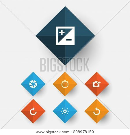 Picture Icons Set. Collection Of Chronometer, Focus, Wb Iridescent And Other Elements