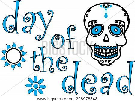 Blue Day of the Dead Graphic with skull