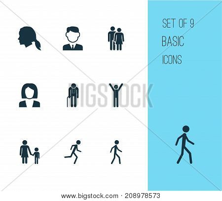 Human Icons Set. Collection Of Beloveds, Gentlewoman Head, Jogging And Other Elements