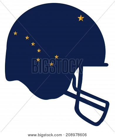 The flag of the USA state of Alaska below a football helmet silhouette