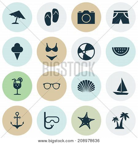 Season Icons Set. Collection Of Video, Conch, Spectacles And Other Elements
