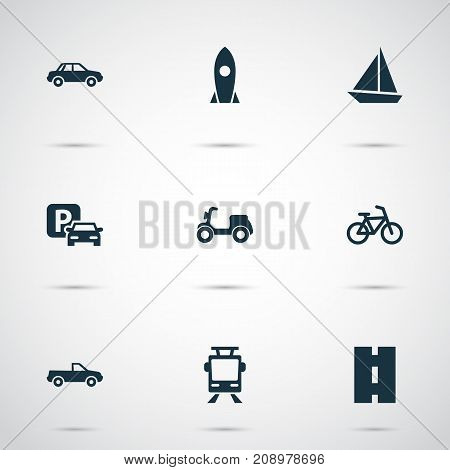Transport Icons Set. Collection Of Automobile, Streetcar, Spaceship And Other Elements