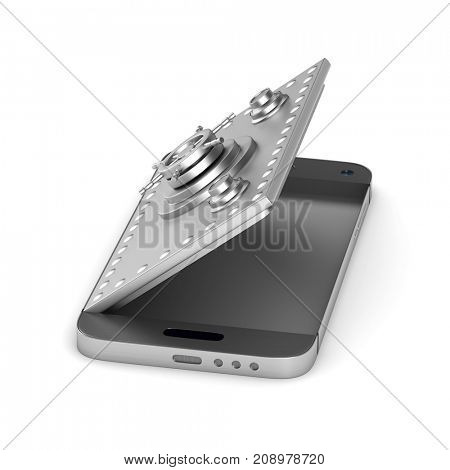 Protection phone on white background. Isolated 3D illustration